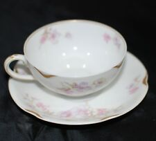 Vintage Haviland Limoges Teacup Saucer China Tea Cup France Pink Floral Gold