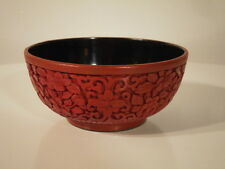 Late Qing Chinese Carved Cinnabar Lacquer on metal Bowl