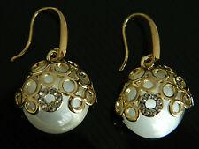 Elegant Gold Hollow & White Stone Round Elements Drop Earrings E148
