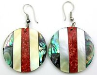 Natural Paua Abalone Shell Red Coral Mother of Pearl Dangle Drop Earrings FA300
