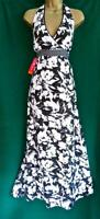 New MONSOON UK 14 Black White Cotton Floral Halterneck Long Maxi Holiday Dress
