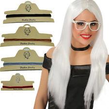 Mujer Retro Multi-color Punk Collar De Cadena Terciopelo Gargantilla colgante