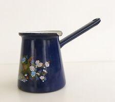 Ancien Pichet - Verseuse en tole émaillée Bleu à décor de Paons et Fleurs -