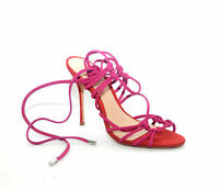 Schutz Glyce Bright Rose Stiletto Heeled Wrap-Tie Closure Sandals