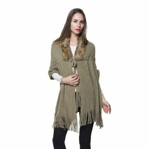 KK7 khaki brown Faux Fur Scarf with Collar and Tassels Size 165x50 Cm shawl wrap