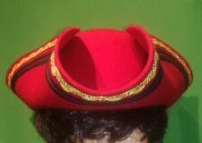 Cappello Tricorno Rosso Andrea Bocholt -Made in Germany Taglia Unica 100% lana