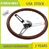 "15"" Wooden Grain Silver Brushed Spoke Steering Wheel classic Wood & Horn Kit"