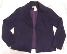 NWT Coldwater Creek Purple Coarse Weave Shawl Collar Lined Jacket Size 8