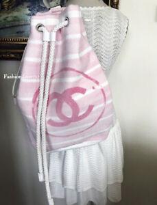 NEW FABULOUS CHANEL PINK WHITE CC LOGO XL LARGE BACKPACK BAG