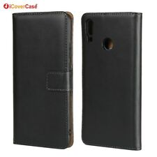 Genuine Leather Wallet Flip Case Cover For Huawei Y9 2019