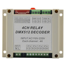 4CH dmx512 relay Controller, 4CH RELAY OUTPUT, AC110-220V input ,Plastic housing