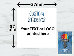 Personalised Square 37mm Stickers Business/Company Name Labels Custom Logo