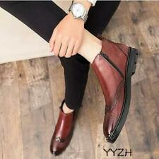 Men Dress Work Formal Chelsea Boots Shoes Slip on Brogue Wing Tip Carved Flats