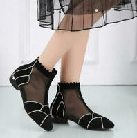 Mesh Sandals Ankle-Boots Womens pointed toe kitten heels shoes spring summer
