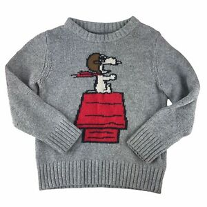 Vintage GAP Kids x Peanuts Boys Sweater Snoopy Doghouse WWI Flying Ace Size 5