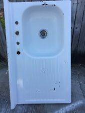 White Enamel Rustic Farmhouse Kitchen Sink Drain board  Vintage 1940-50s Awesome