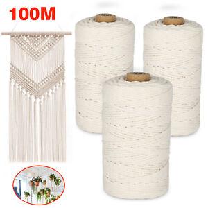 100M Natural Beige Cotton 3mm Twisted Cord Rope Artisan Macrame String DIY Craft