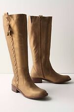 ANTHROPOLOGIE LUMINOUS BOOTS MISS ALBRIGHT SHOES MID-CALF FLAT METALLIC GOLD 6.5