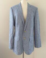 JCrew $358 Ludlow Suit Jacket in Gingham Linen-Cotton 40R Blue White G1139 SP'17