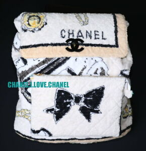 CHANEL 94P ICONIC VINTAGE GRAFFITI TERRY CLOTH BACKPACK BAG,COLLECTOR'S PIECE!