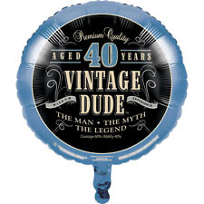 """18"""" Vintage Dude 40th Foil Helium Balloon Mens 40 Birthday Party Decoration"""