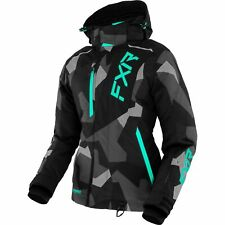 Fxr Pulse 21 Womens Snow Jacket Charcoal Camo/Mint