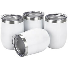4 Packs Stemless Wine Tumbler 12Oz Stainless Steel Wine Glass Cup w/ Lids White