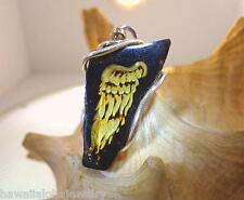 925 SILVER GENUINE BALTIC COGNAC AMBER INTAGLIO CAMEO ANGEL'S WINGS PENDANT #62