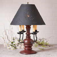 COLONIAL TABLE LAMP & PUNCHED TIN SHADE Distressed Red with 3 Light Options USA