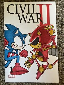 Marvel Civil War II 2 # 1 Sketch Cover Sonic The Hedgehog