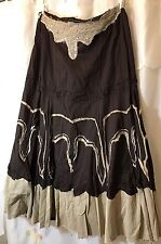 Dare Boho/Hippie/Gypsy Skirt.  Brown/Tan/Beads/Sequins  Size XL