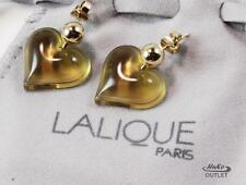 LALIQUE COEUR HEART LOVE YELLOWISH FROSTED CRYSTAL GOLD PLATED POST EARRINGS