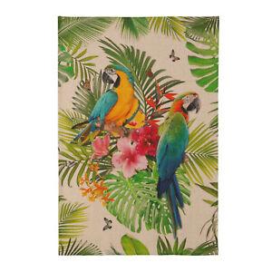 Geschirrtuch Küchentuch Tropical Dschungel Papagei 100 % Leinen Coucke