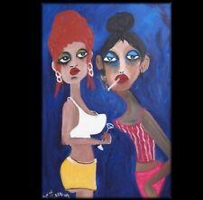 ART OFFICE GIRLS   commission BEACH  PORTRAIT Lynne Pickering  23628 blue fun