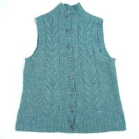 L.L. Bean Blue Button Down Chunky Cable Knit Sleeveless Sweater Vest sz Medium