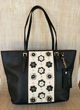 EUC NINE WEST Black Ivory 3D Flowers Faux Leather Purse Tote Handbag