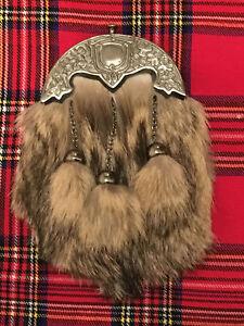 Full Dress Kilt Sporran Fox Fur Celtic Cantle Antique/Scottish Sporrans