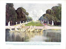 A View of the Palace Gardens, Versailles, France Scarce Antique Print circa 1916