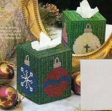 FESTIVE ORNAMENTS TISSUE BOX COVER CHRISTMAS PLASTIC CANVAS PATTERN INSTRUCTIONS