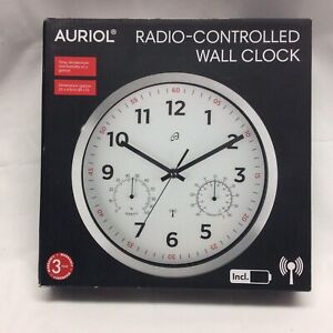 BNIB AURIOL RADIO CONTROLLED WALL CLOCK TIME TEMPERATURE & HUMIDITY ALUM. FRAME