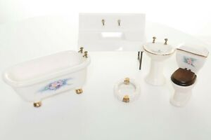 New 5 Piece Dollhouse Ceramic Bathroom Set Toilet 2 Sinks Bathtub Mirror NWOT