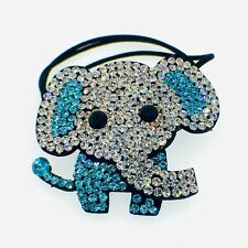 Elephant Hair Rope Band use Swarovski Crystal Ponytail Holder Hairpin Blue