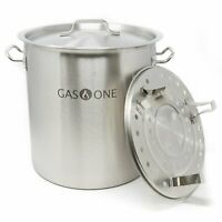 Gas One 60 Quart Stainless Stock Pot Lid & Steamer rack Tamale Beer Brew Kettle