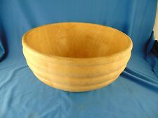 Large Wooden bowl hand crafted light wood tone fruit salad veggies staved art