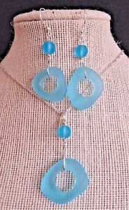 """TURQUOISE BAY cultured sea glass jewelry Artsy ring set 18"""" silver plate chain"""