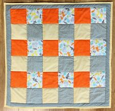 Baby Quilt Handmade Grey Orange Yellow Animal Patchwork Nursery Crib Blanket New