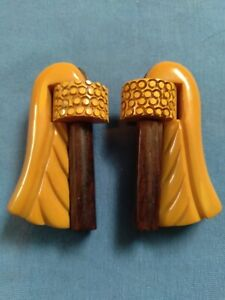 Pair of vintage Carved Chocolate & Butterscotch Bakelite Dress Clips