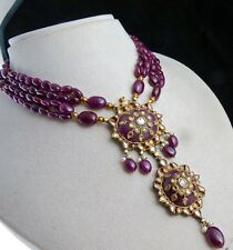 NATURAL UNHEATED RUBY CABOCHON & BEADS DIAMOND 18K GOLD JADAU NECKLACE