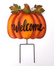 Metal Pumpkin Garden Welcome Stakes Yard Signs Fall Harvest Thanksgiving Decor