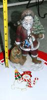 VINTAGE 1991 9.5 Inch Tall CERAMIC SANTA CLAUS FIGURINE & BONUS XMAS TRAY